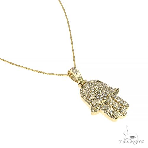 14K Yellow Gold Diamond Hamsa Pendant Set 66613 Metal