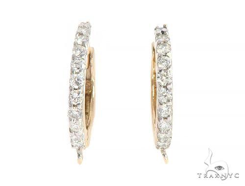 14K Yellow Gold Diamond Hoop Earrings 65339 10k, 14k, 18k Gold Earrings