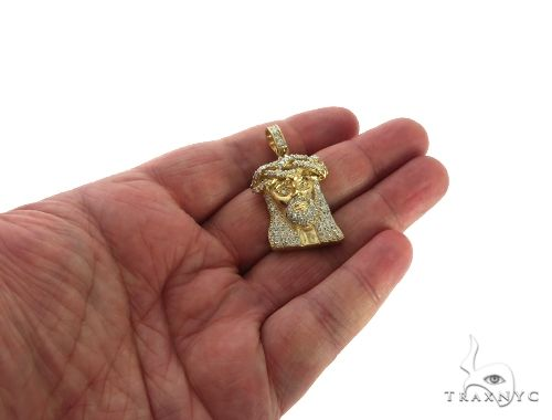 14K Yellow Gold Diamond Jesus Head Pendant 63960 Style