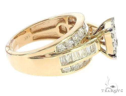 14K Yellow Gold Diamond Square Head Cluster Ring 65537 Anniversary/Fashion