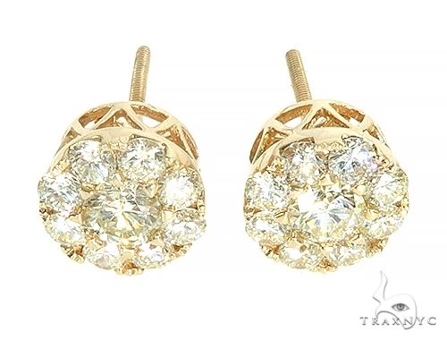 14K Yellow Gold Diamond Stud Earrings 65825 Stone