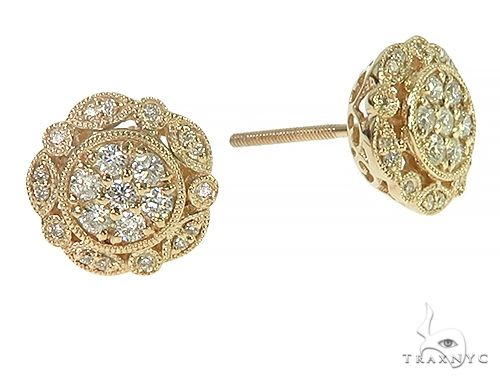 14K Yellow Gold Vintage Diamond Stud Earrings 66191 Stone