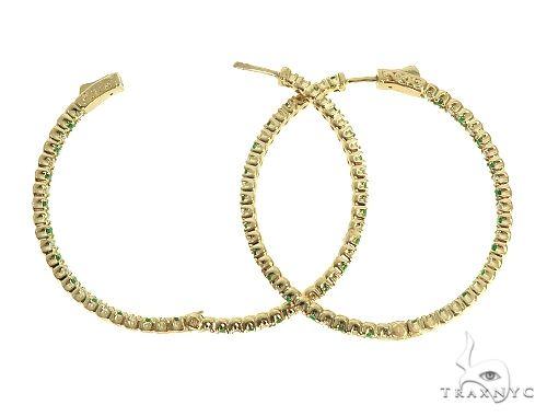 14K Yellow Gold Emerald & Diamond Hoops Earrings 65994 Style