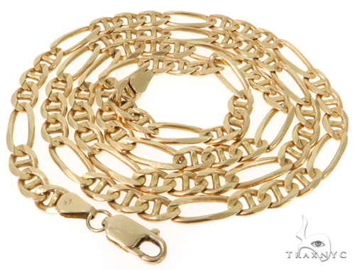 14K Yellow Gold Figaro Chain 24 Inches 6 mm 33.3 Grams 43227 Gold
