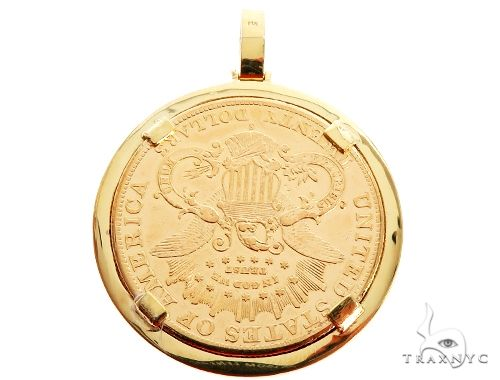 14K Yellow Gold Frame 22K Yellow Gold Twenty Dollar Coin Diamond Pendant Metal