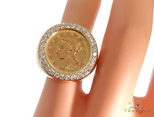 14K Yellow Gold Frame 22K Yellow Gold Two and a Half Dollar Coin Diamond Ring Stone