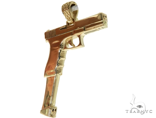 14K Yellow Gold Gun Pendant 58426 Metal