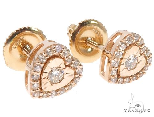 14K Yellow Gold Heart Shape Stud Earrings 10k, 14k, 18k Gold Earrings