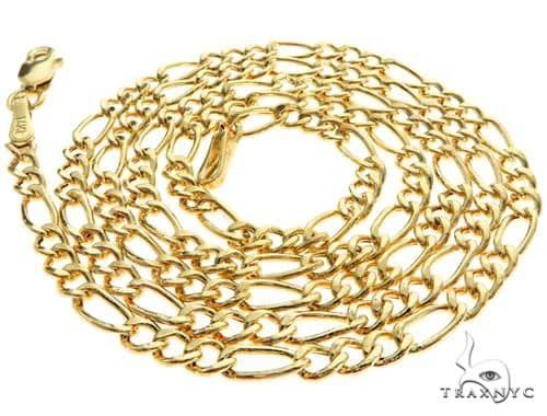 14K Yellow Gold Hollow Figaro Link Chain 22 Inches 2.5mm 3.1 Grams 66295 Gold