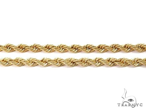 14K Yellow Gold Hollow Rope Chain 22 Inches 2.1mm 3.39 Grams 64541 Gold