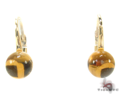 Citrine Cabochon Gold Hoop Earrings 34503 Stone