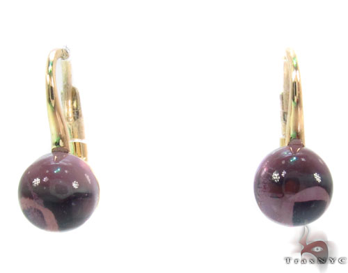 Amethyst Cabochon Gold Hoop Earrings 34504 Stone