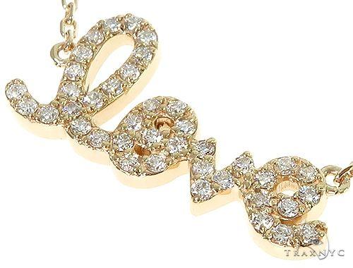 14K Yellow Gold LOVE Diamond Necklace 66214 Diamond