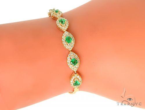 14K Yellow Gold Ladies Emerald Diamond Bracelet 65975 Diamond