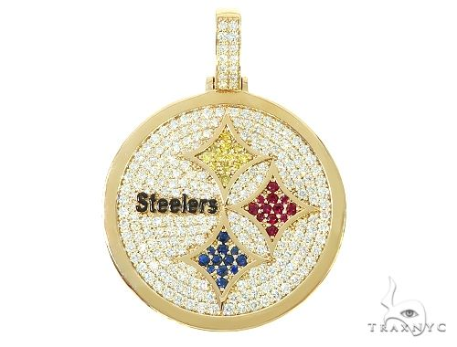 14K Yellow Gold Large Custom Steelers Pendant 65748 Metal