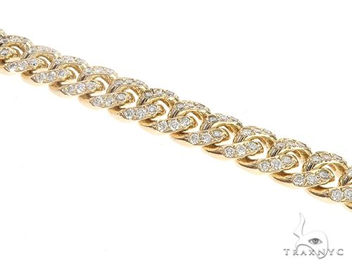 14K Yellow Gold Miami Cuban Diamond Bracelet 65225 Diamond