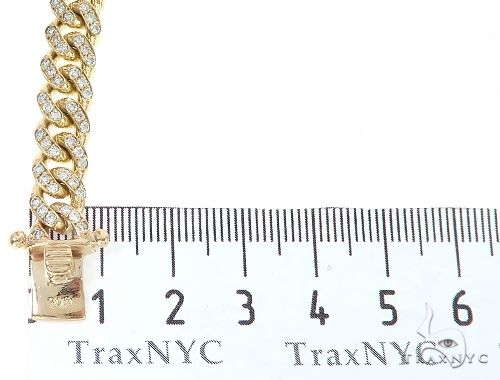 14K Yellow Gold Miami Cuban Diamond Bracelet 65225 Diamond