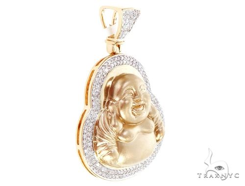 14K Yellow Gold Micro Pave Diamond Buddha Piece 64848 Metal