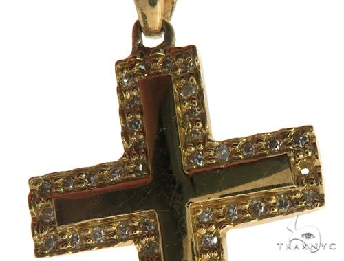 14K Yellow Gold Micro Pave Diamond Cross Crucifix 62554 Diamond