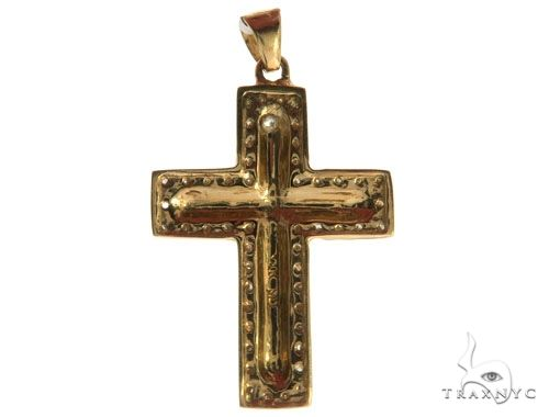 14K Yellow Gold Micro Pave Diamond Cross Crucifix 62554 Diamond