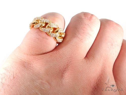 14K Yellow Gold Micro Pave Diamond Cuban Link Ring 64028 Stone