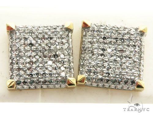 14K Yellow Gold Micro Pave Diamond Square Stud Earrings 63007 Stone