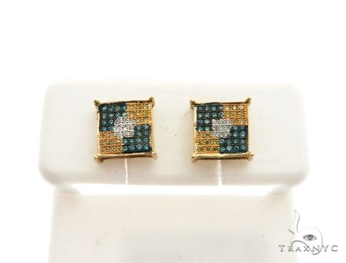 14K Yellow Gold Micro Pave Diamond Stud Earrings Stone