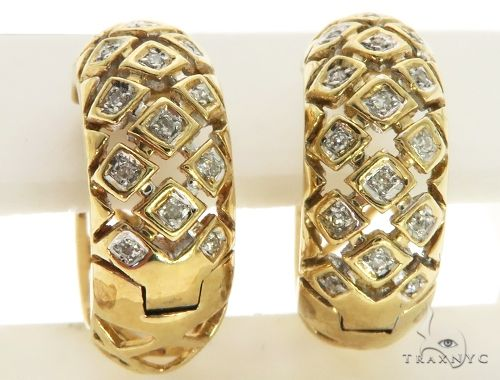14K Yellow Gold Micro Pave Diamond Stud Round Earrings. 63284 Stone