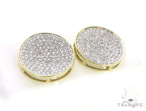 14K Yellow Gold Micro Pave Diamond Stud Round Earrings 63499 Stone