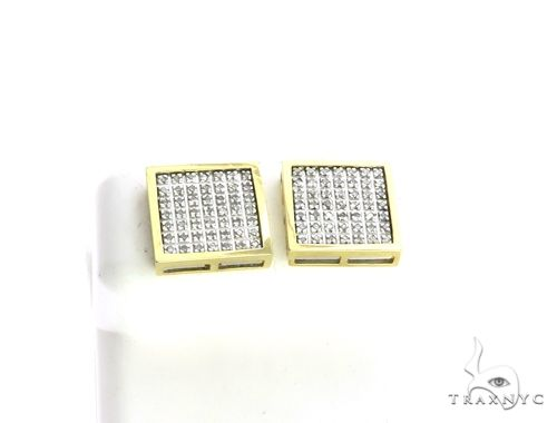 14K Yellow Gold Micro Pave Diamond XL Earrings. 63202 Stone