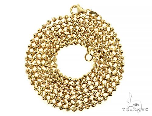 14K Yellow Gold Moon Cut Link Chain 26 Inches 2mm 7.3 Grams 66034 Gold