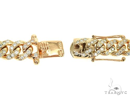 14K Yellow Gold One Row Diamond Cuban Link Bracelet 65944 Diamond