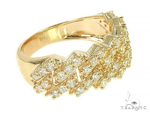 14K Yellow Gold One Row Diamond Cuban Link Ring 65971 Stone