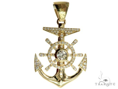 14K Yellow Gold Pave Bezel Diamond Anchor Charm Pendant 63957 Metal