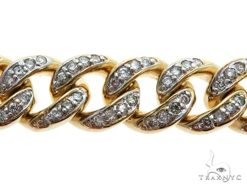 Mini 14K Yellow Gold Pave Diamond Cuban Link Bracelet 61576 Diamond