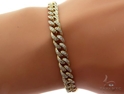 14K Yellow Gold Pave Diamond Cuban Link Bracelet 61576 Diamond