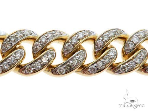 14K Yellow Gold Pave Diamond Cuban Link Bracelet 61577 Diamond