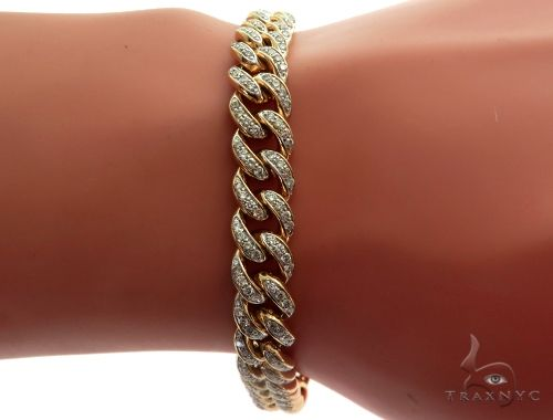 14K Yellow Gold Pave Diamond Cuban Link Bracelet 61577 Diamond