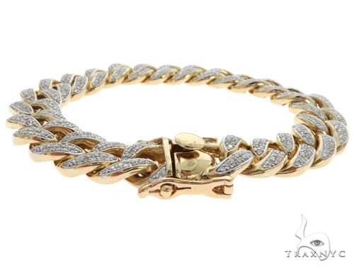14K Yellow Gold Pave Diamond Cuban Link Bracelet 61578 Diamond