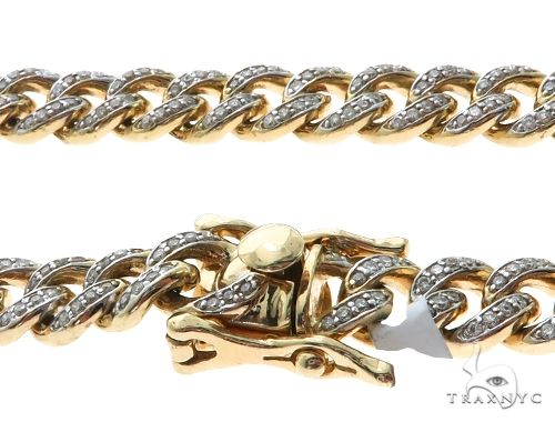 14K Yellow Gold Pave Diamond Miami Cuban Link Chain 28 Inches 7mm 84.1 Grams 61575 Diamond