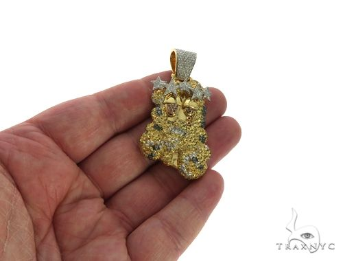 14K Yellow Gold Prong Bezel Diamond Custom Made Hip Hop Piece 63780 Style
