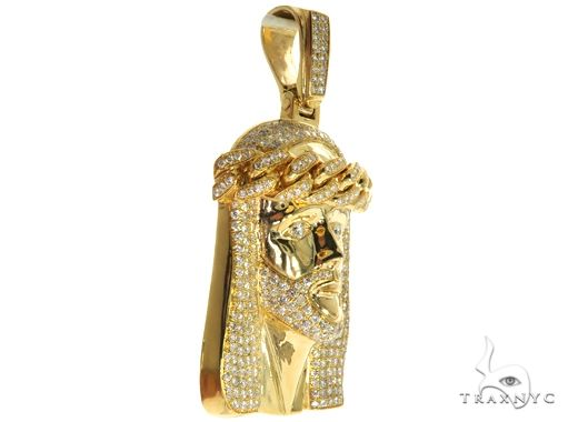 14K Yellow Gold Prong Bezel Diamond Jesus Piece 63775 Style