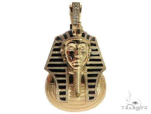 14K Yellow Gold Prong Bezel Diamond Pharaoh King Tut Pendant 63238 Metal