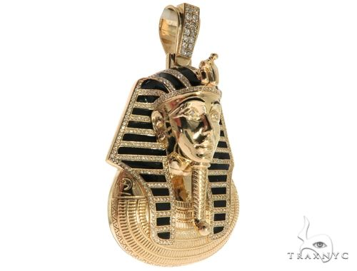 14K Yellow Gold Prong Bezel Diamond Pharaoh King Tut Pendant 63238 Metal