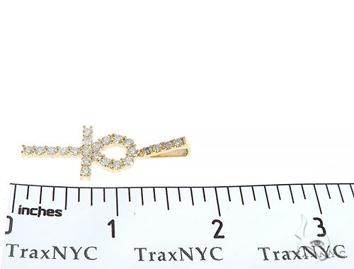 14K Yellow Gold Prong Diamond Ankh Cross 65285 Diamond