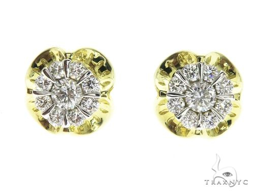 14K Yellow Gold Prong Diamond Cluster Earrings 63707 Stone
