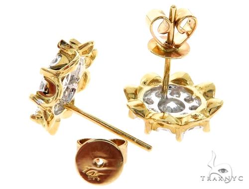 14K Yellow Gold Prong Diamond Cluster Stud Earrings 57220 Stone