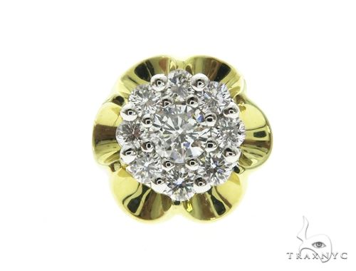 14K Yellow Gold Prong Diamond Cluster Stud Earrings 63709 Stone