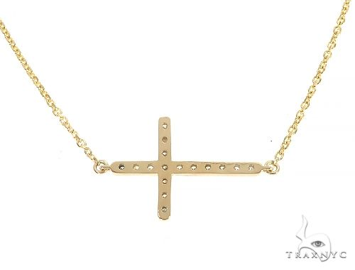 14K Yellow Gold Prong Diamond Cross Necklace 65309 Diamond