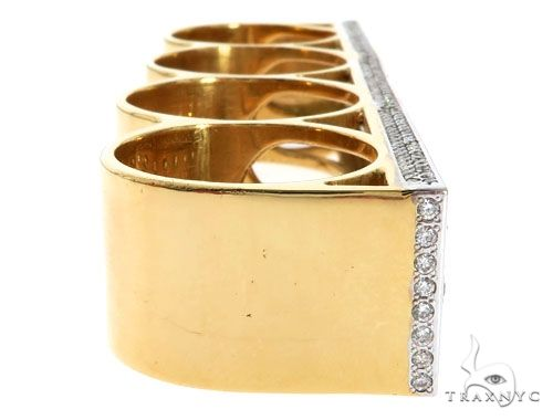 14K Yellow Gold Prong Diamond Four Finger Ring Hip Hop Style 62998 Stone